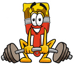 Clip Art Graphic of a Red Paintbrush With Yellow Paint Cartoon Character Lifting a Heavy Barbell