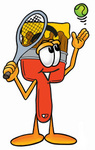 Clip Art Graphic of a Red Paintbrush With Yellow Paint Cartoon Character Preparing to Hit a Tennis Ball