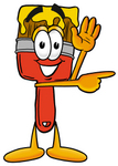 Clip Art Graphic of a Red Paintbrush With Yellow Paint Cartoon Character Waving and Pointing