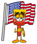 Clip Art Graphic of a Red Paintbrush With Yellow Paint Cartoon Character Pledging Allegiance to an American Flag