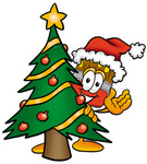 Clip Art Graphic of a Red Paintbrush With Yellow Paint Cartoon Character Waving and Standing by a Decorated Christmas Tree