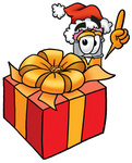 Clip Art Graphic of a Yellow Number 2 Pencil With an Eraser Cartoon Character Standing by a Christmas Present