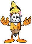 Clip Art Graphic of a Yellow Number 2 Pencil With an Eraser Cartoon Character Wearing a Birthday Party Hat