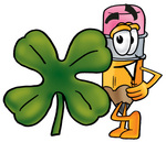 Clip Art Graphic of a Yellow Number 2 Pencil With an Eraser Cartoon Character With a Green Four Leaf Clover on St Paddy's or St Patricks Day