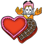 Clip Art Graphic of a Yellow Number 2 Pencil With an Eraser Cartoon Character With an Open Box of Valentines Day Chocolate Candies