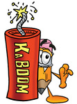 Clip Art Graphic of a Yellow Number 2 Pencil With an Eraser Cartoon Character Standing With a Lit Stick of Dynamite