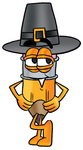Clip Art Graphic of a Yellow Number 2 Pencil With an Eraser Cartoon Character Wearing a Pilgrim Hat on Thanksgiving