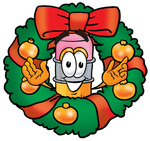 Clip Art Graphic of a Yellow Number 2 Pencil With an Eraser Cartoon Character in the Center of a Christmas Wreath