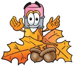 Clip Art Graphic of a Yellow Number 2 Pencil With an Eraser Cartoon Character With Autumn Leaves and Acorns in the Fall