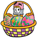 Clip Art Graphic of a Yellow Number 2 Pencil With an Eraser Cartoon Character in an Easter Basket Full of Decorated Easter Eggs