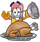 Clip Art Graphic of a Yellow Number 2 Pencil With an Eraser Cartoon Character Serving a Thanksgiving Turkey on a Platter