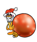 Clip Art Graphic of a Yellow Number 2 Pencil With an Eraser Cartoon Character Wearing a Santa Hat, Standing With a Christmas Bauble
