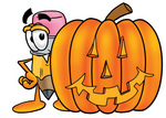 Clip Art Graphic of a Yellow Number 2 Pencil With an Eraser Cartoon Character With a Carved Halloween Pumpkin