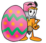Clip Art Graphic of a Yellow Number 2 Pencil With an Eraser Cartoon Character Standing Beside an Easter Egg
