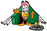 Clip Art Graphic of a Yellow Number 2 Pencil With an Eraser Cartoon Character Camping With a Tent and Fire