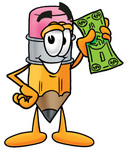 Clip Art Graphic of a Yellow Number 2 Pencil With an Eraser Cartoon Character Holding a Dollar Bill
