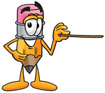 Clip Art Graphic of a Yellow Number 2 Pencil With an Eraser Cartoon Character Holding a Pointer Stick