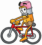 Clip Art Graphic of a Yellow Number 2 Pencil With an Eraser Cartoon Character Riding a Bicycle