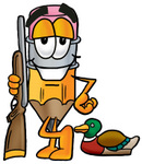 Clip Art Graphic of a Yellow Number 2 Pencil With an Eraser Cartoon Character Duck Hunting, Standing With a Rifle and Duck