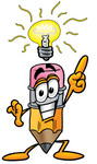 Clip Art Graphic of a Yellow Number 2 Pencil With an Eraser Cartoon Character With a Bright Idea