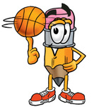 Clip Art Graphic of a Yellow Number 2 Pencil With an Eraser Cartoon Character Spinning a Basketball on His Finger