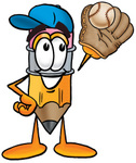 Clip Art Graphic of a Yellow Number 2 Pencil With an Eraser Cartoon Character Catching a Baseball With a Glove