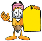 Clip Art Graphic of a Yellow Number 2 Pencil With an Eraser Cartoon Character Holding a Yellow Sales Price Tag