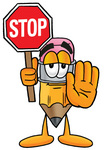 Clip Art Graphic of a Yellow Number 2 Pencil With an Eraser Cartoon Character Holding a Stop Sign