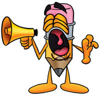 Clip Art Graphic of a Yellow Number 2 Pencil With an Eraser Cartoon Character Screaming Into a Megaphone