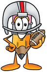 Clip Art Graphic of a Yellow Number 2 Pencil With an Eraser Cartoon Character in a Helmet, Holding a Football