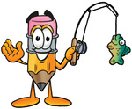 Clip Art Graphic of a Yellow Number 2 Pencil With an Eraser Cartoon Character Holding a Fish on a Fishing Pole