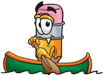Clip Art Graphic of a Yellow Number 2 Pencil With an Eraser Cartoon Character Rowing a Boat