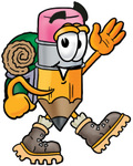 Clip Art Graphic of a Yellow Number 2 Pencil With an Eraser Cartoon Character Hiking and Carrying a Backpack