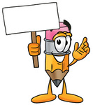 Clip Art Graphic of a Yellow Number 2 Pencil With an Eraser Cartoon Character Holding a Blank Sign
