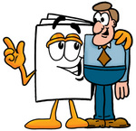 Clip Art Graphic of a White Copy and Print Paper Cartoon Character Talking to a Business Man