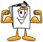 Clip Art Graphic of a White Copy and Print Paper Cartoon Character Flexing His Arm Muscles
