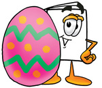 Clip Art Graphic of a White Copy and Print Paper Cartoon Character Standing Beside an Easter Egg