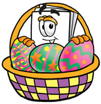 Clip Art Graphic of a White Copy and Print Paper Cartoon Character in an Easter Basket Full of Decorated Easter Eggs