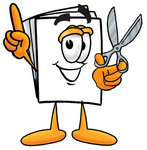 Clip Art Graphic of a White Copy and Print Paper Cartoon Character Holding a Pair of Scissors