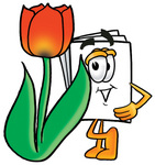 Clip Art Graphic of a White Copy and Print Paper Cartoon Character With a Red Tulip Flower in the Spring