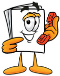 Clip Art Graphic of a White Copy and Print Paper Cartoon Character Holding a Telephone