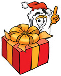 Clip Art Graphic of a White Copy and Print Paper Cartoon Character Standing by a Christmas Present