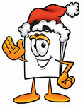 Clip Art Graphic of a White Copy and Print Paper Cartoon Character Wearing a Santa Hat and Waving