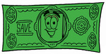Clip Art Graphic of a White Copy and Print Paper Cartoon Character on a Dollar Bill