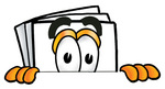 Clip Art Graphic of a White Copy and Print Paper Cartoon Character Peeking Over a Surface