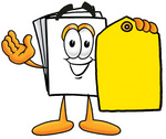 Clip Art Graphic of a White Copy and Print Paper Cartoon Character Holding a Yellow Sales Price Tag
