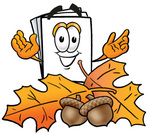 Clip Art Graphic of a White Copy and Print Paper Cartoon Character With Autumn Leaves and Acorns in the Fall