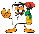 Clip Art Graphic of a White Copy and Print Paper Cartoon Character Holding a Red Rose on Valentines Day