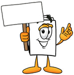 Clip Art Graphic of a White Copy and Print Paper Cartoon Character Holding a Blank Sign