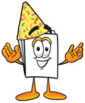 Clip Art Graphic of a White Copy and Print Paper Cartoon Character Wearing a Birthday Party Hat